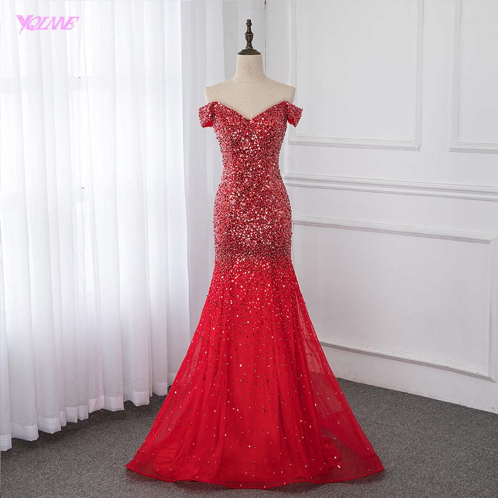 Off Shoulder Red Mermaid Evening Dress 2019 Formal Dresses Evening Gown Competition Robe de Soiree Sequin
