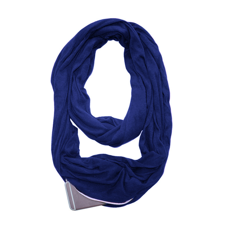 2019 New Fashion Spring Women&Man Solid Infinity Portable Scarf with Zipper Pocket Travel Journey Unisex All Match High Quality 11