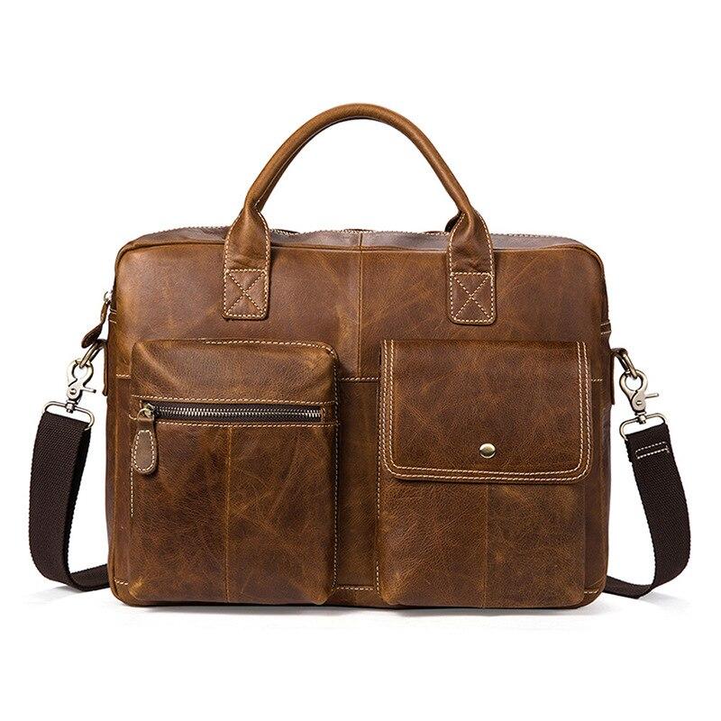 2018 New Men Briefcases Genuine Leather Men's Handbag Vintage Laptop Briefcase Business Messenger Shoulder Bags Men's Bag цена
