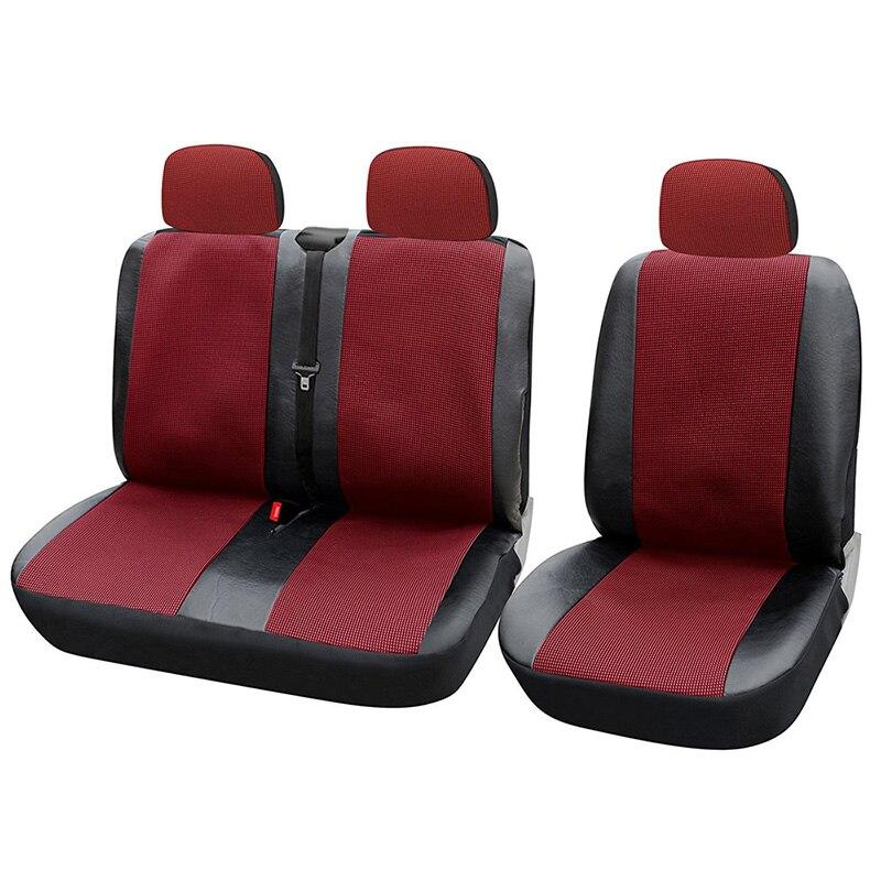 AUTOYOUTH 1 + 2 housses de siège pour van/van universel avec simili cuir couleur rouge/noir bleu/noir