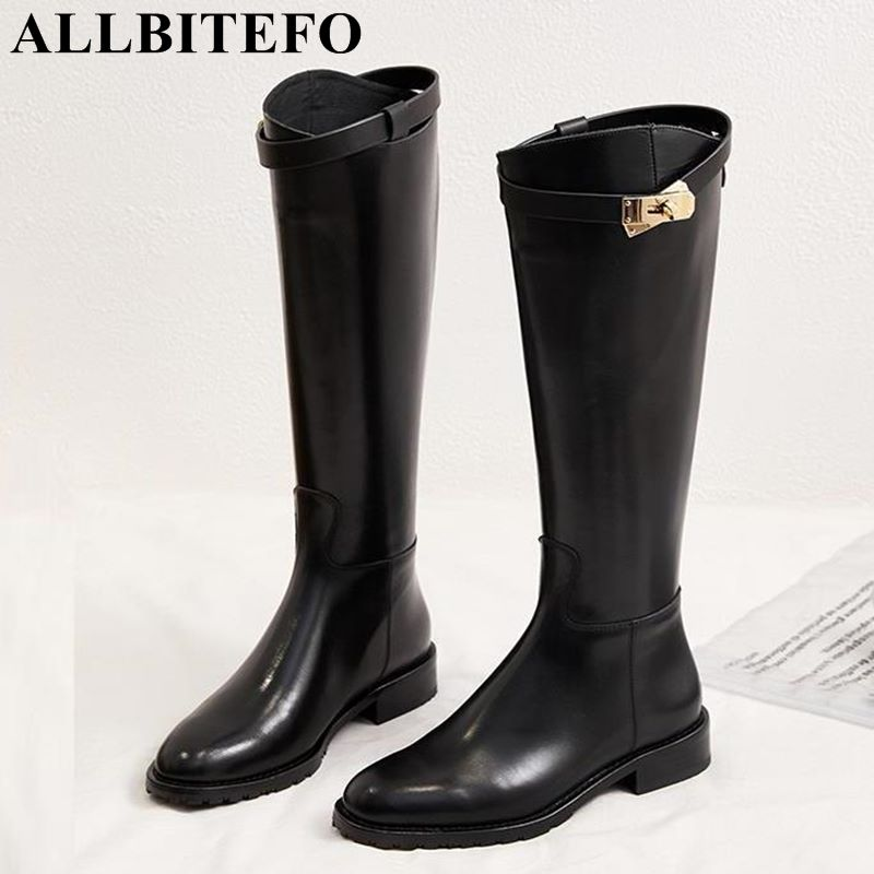 все цены на ALLBITEFO fashion brand genuine leather thick heel women boots winter warm snow girls shoes women knee high boots long boots онлайн