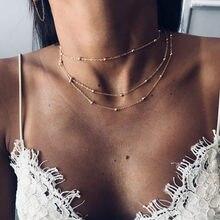 Novo simples boho ouro prata cor corrente grânulos gargantilha colar feminino layerd chocker colares para colar feminino jóias atacado