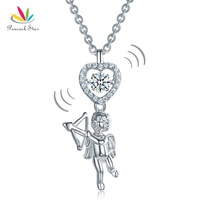 Peacock Star Love Angel Heart Dancing Stone Kids Girl Pendant Necklace Solid 925 Sterling Silver Children Jewelry CFN8070