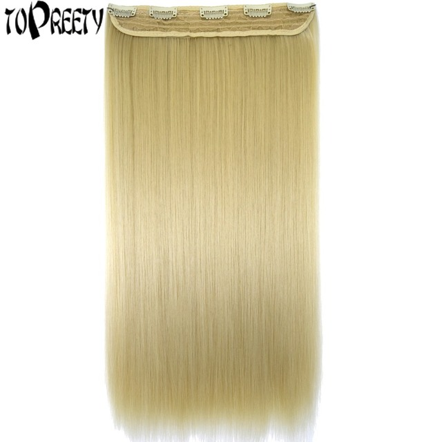 "TOPREETY Heat Resistant B5 Synthetic Fiber 24"" 60cm 120gr Straight 5 clips on clip in hair Extensions"