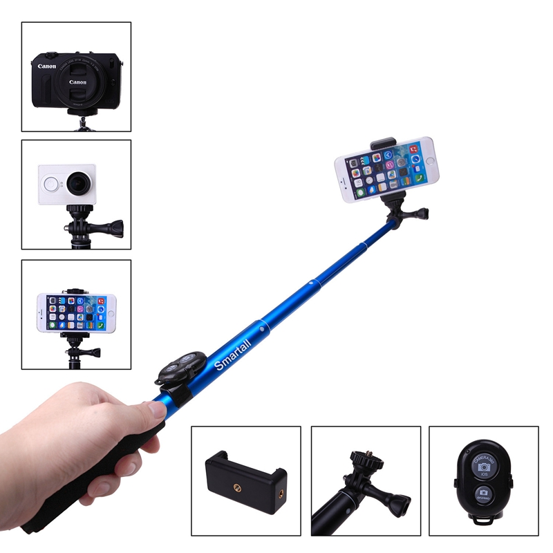 with bluetooth remote camera shutter extendable bluetooth selfie stick gopro 39 us218. Black Bedroom Furniture Sets. Home Design Ideas