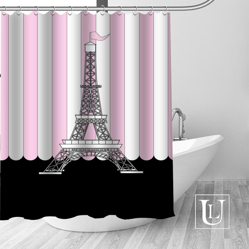 Custom Paris tower Bath Curtain Fabric Modern Shower Curtain bathroom beautiful Curtains Bath decor