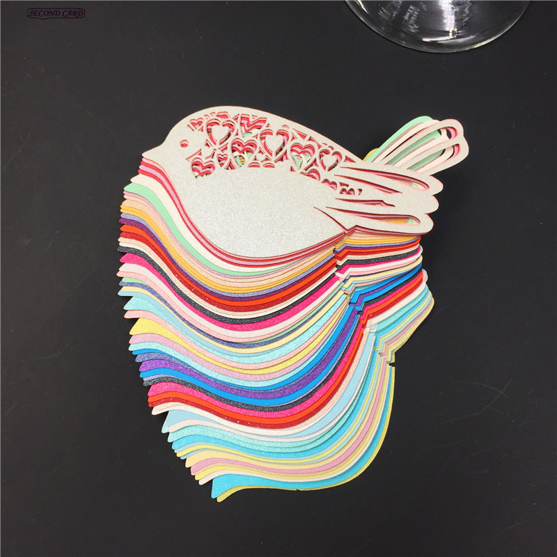 50pcs 10 Color Mix Big Birds Laser Cut Place Escort Wine Glass Cup Paper Card, Wedding Favors And Gifts Wedding Decoration image