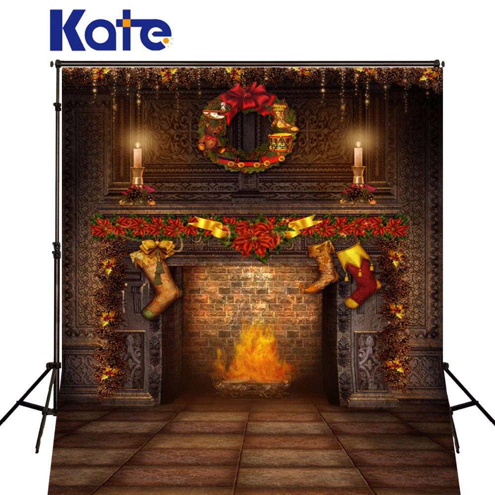 Kate Christmas Backdrops Fireplace Christmas Socks Photograpic Backgrounds For Children Brick Photoground Studio Backgrounds