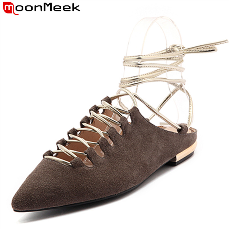 MoonMeek 2017 new arrive summer shoes fashion women flats pointed toe ankle strap kid suede sexy popular ladies party shoes meotina brand design mules shoes 2017 women flats spring summer pointed toe kid suede flat shoes ladies slides black size 34 39