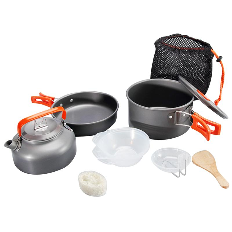 9pcs Portable Camping Cooking Pot Set Simple Practical Cookers Kettle Set For Outdoor Party Gathering (Orange Handle Pattern)
