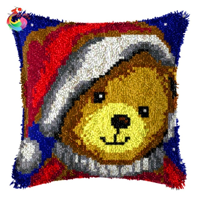 Hot Chrismas Decoration Latch Hook Pillow Kits New Diy Needlework Crocheting Rug Handmade Embroidery Unfinished
