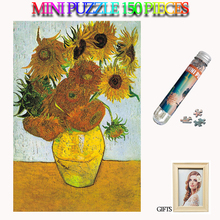 MOMEMO Sunflower 150 Pieces Adults Mini Jigsaw Puzzles Paper Tube Puzzle Old Master Puzzle for Teens Kids Toys with Photo Frame