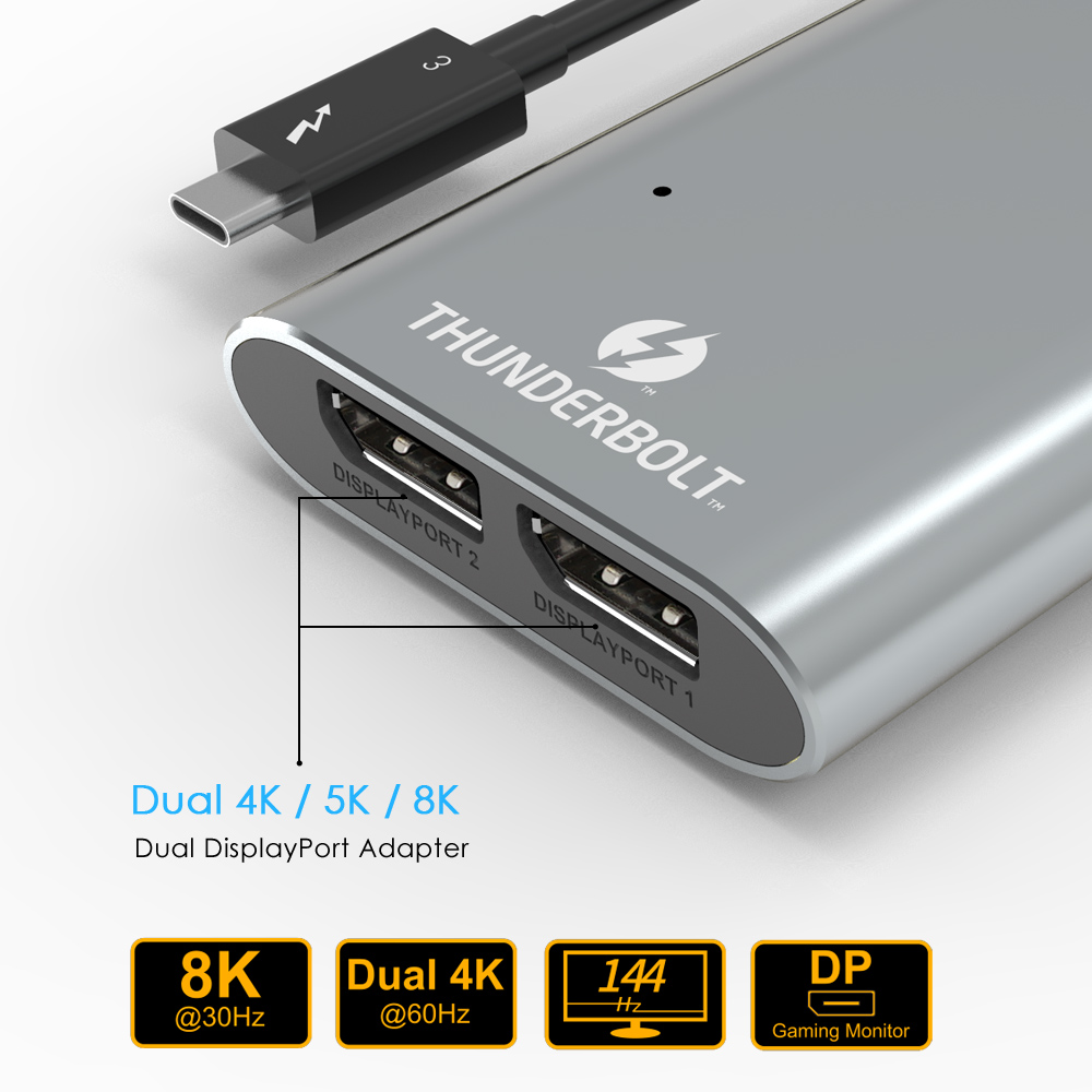 Image 3 - Wavlink Thunderbolt 3 adapter  Dual DisplayPort 8K Adapter USB C Hub 4K&5K@60Hz Type c Splitter video display for Window Macbook-in USB Hubs from Computer & Office