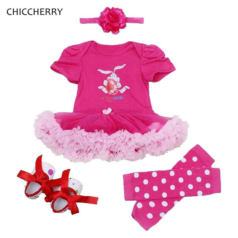 Hot Pink Easter Eggs Outfits Newborn Tutu Sets 4pcs Baby Girl Dress Headband Legwarmers Vestido De Bebe Rabbit Infant Clothes