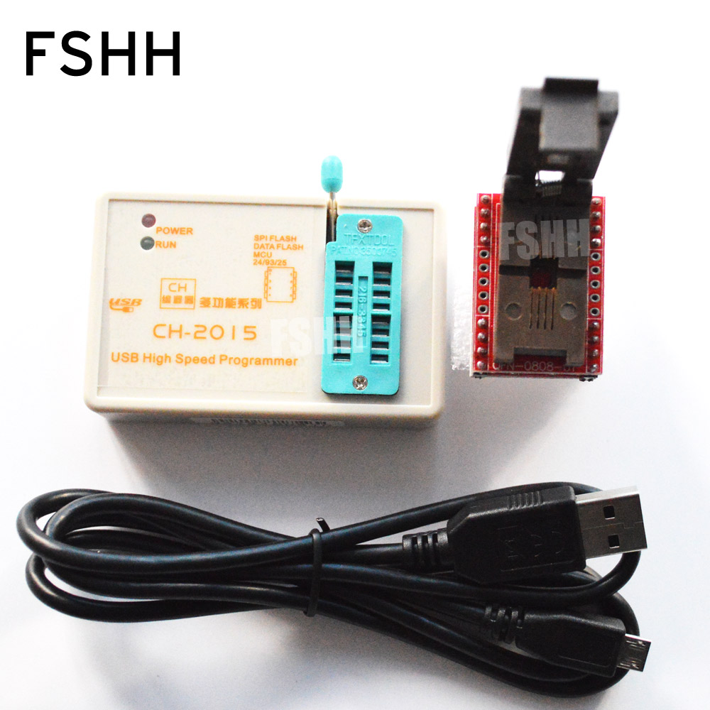 Program CH2015 SPI FLASH High-speed Programmer +QFN8 to DIP8 Adapter(5X6mm) USB SPI FLASH/EEPROM Programmer