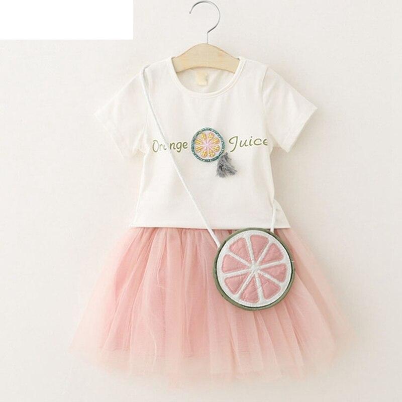 2018 Summer NEW Children Clothing Orange Cartoon Girl Clothes Set White T-shirt + Yarn Dress 2pcs Fashion Girls Clohting ...