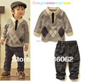 2015 New arrival Winter hoodies clothing sets boy classic plaid shirt and pants 2pcs sets baby wear wholesale free shipping