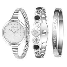 XINGE Women's Watch Women Silver Rhinestone Love Bangle Watch And Bracelet Set 189S Fashion Wristwatch Top Gift JY12