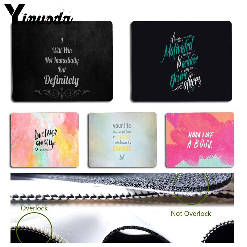 Yinuoda  Proverb Phrase Motto Motivation Word Keyboard Gaming MousePads Size For 18x22cm 25x29cm Small Mousepad