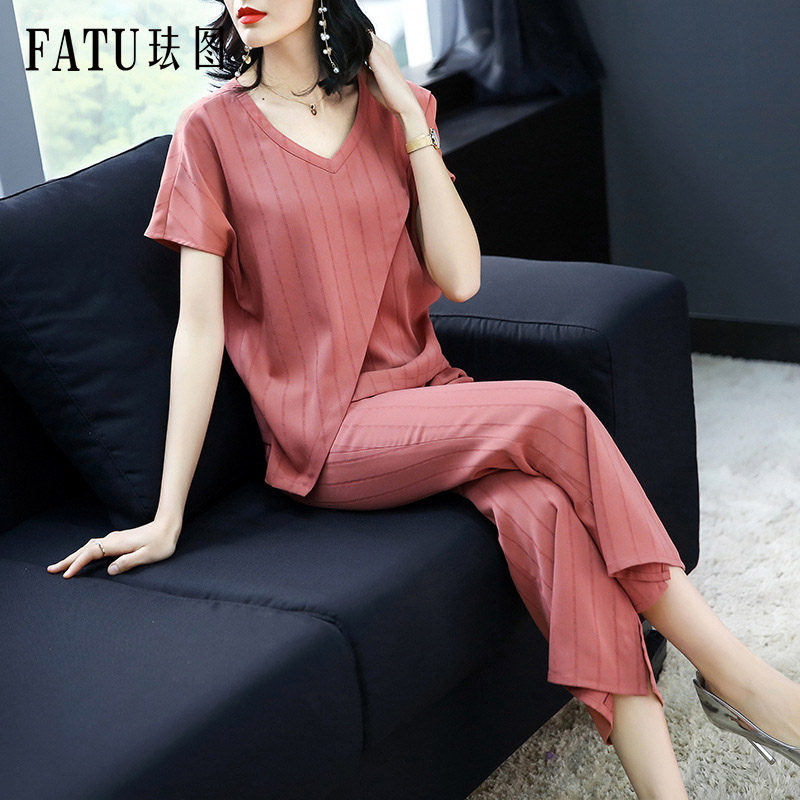 FATU 2018 Women Outfit Clothes V-Neck Top Flare Pants Fashion New Woman Blouse and Flares Knitwear Slim Sasual Women 2 Piece Set new us laptop keyboard for hp pavilion 15 ak engliah backlight with palmrest upper cover keyboard