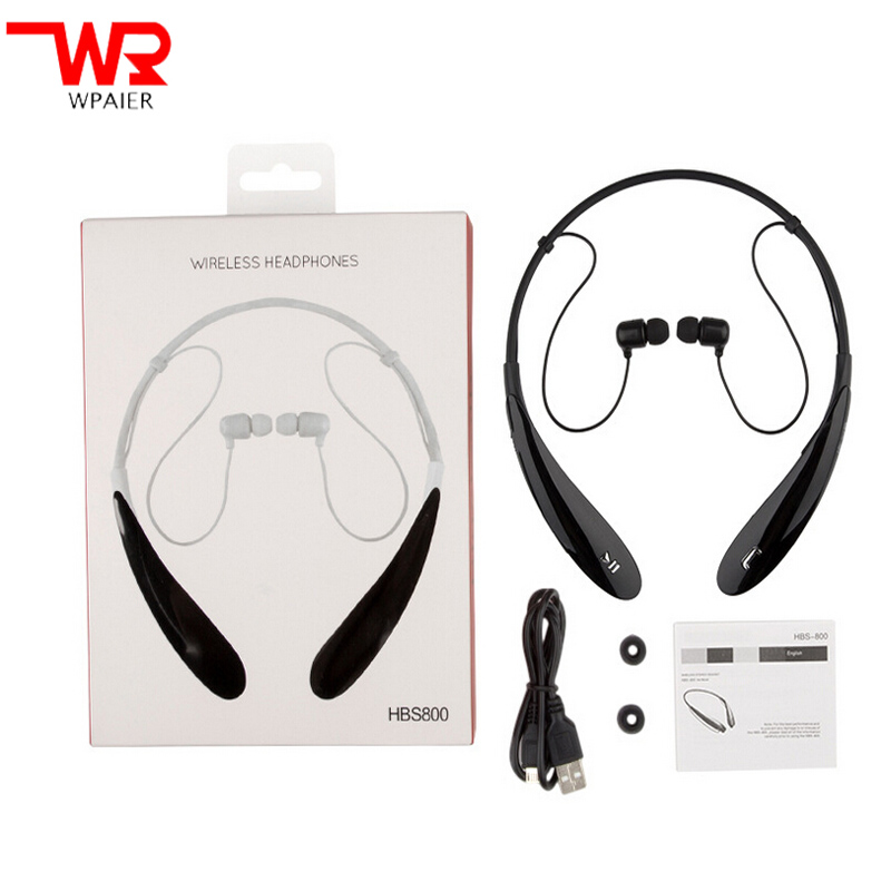 WPAIER HBS-800 Wireless Bluetooth headphones V4.0EDR portable sports Neckband headset stereo HQ earphone Universal type with mic hbs 800 bluetooth headphone wireless stereo sports headset neckband earphone with mic for iphone samsung lg