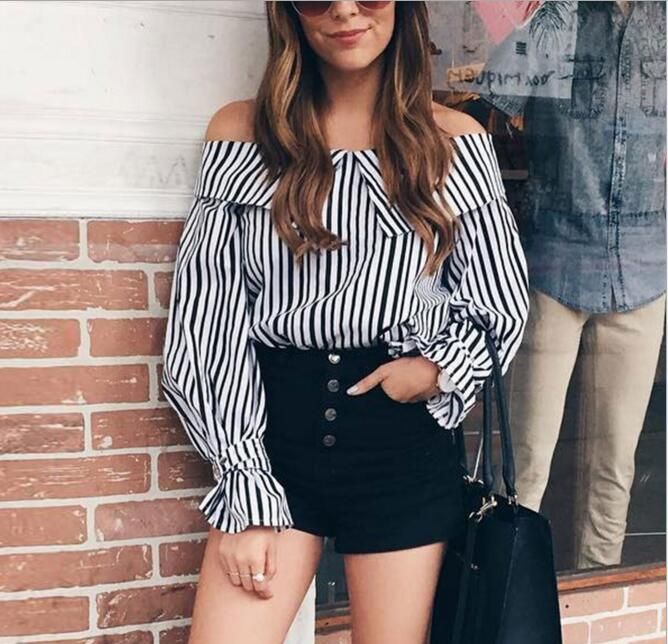 Sexy Striped Slash Neck Off the Shoulder Lantern Sleeve Loose Shirt Blouse with Neck Collar Female Elegant Office Work Shirt Top