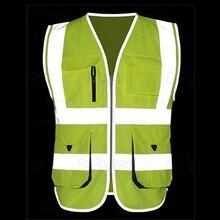 Safety Jacket Cycling Reflective Vest Hi-Vis Yellow Company-Logo-Printing