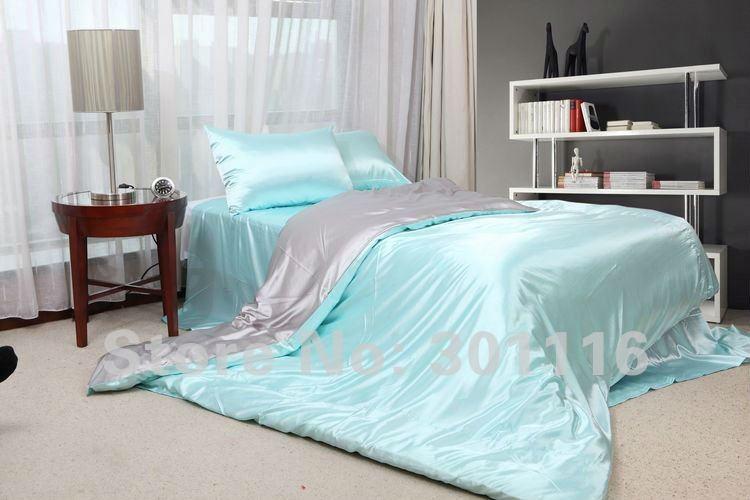 Bon FASHION SUMMER BEDDING 100% Cool Blue Imitated Silk Bed Sheet Set /duvet  Cover /bedding Set /comforter Set/bedspread In Bedding Sets From Home U0026  Garden On ...