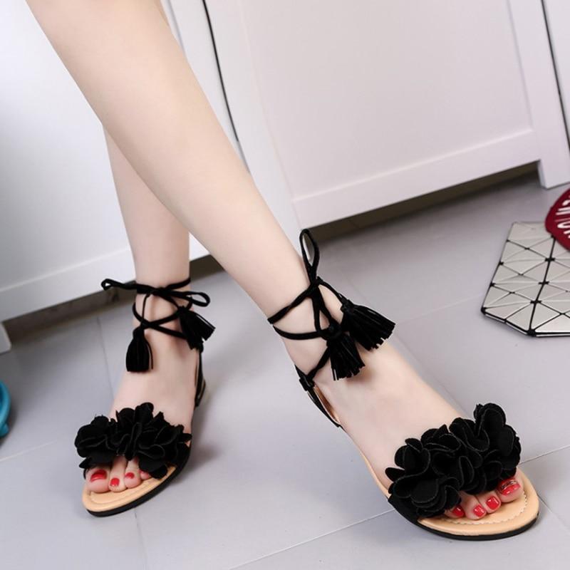 acd7c3b8176 COOTELILI 35 39 Bohemian Summer Gladiator Solid Flats Open Toe Women Shoes  Casual Ladies Flower Sandals Beach Sandalia Feminine-in Women s Sandals  from ...
