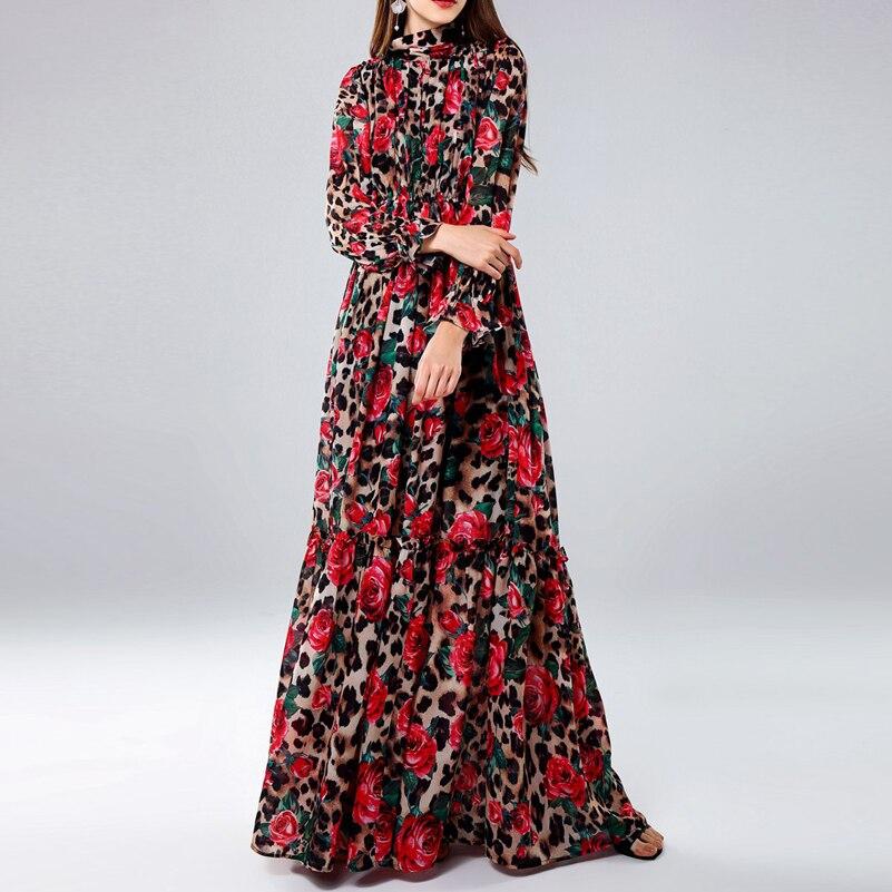 Haute qualité 2019 designer Piste Maxi robe de Femmes À Manches Longues Vintage Fleurs Imprimé Léopard Mince Plage longue Robe plus taille