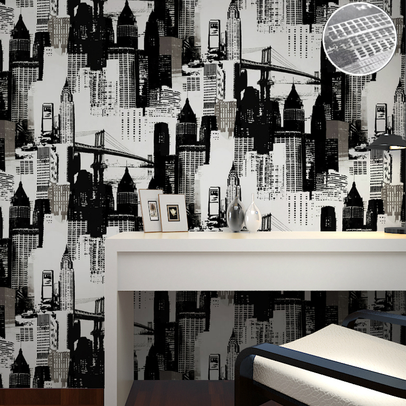 Buy modern design vinyl new york for Black and white new york mural wallpaper