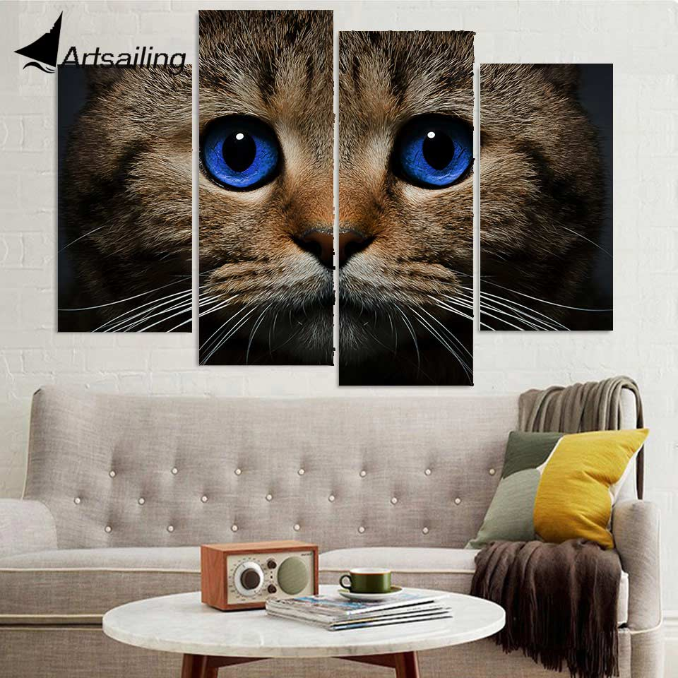 4 Panel Canvas Art Canvas Painting Cat Stare Blue Eyes HD ...