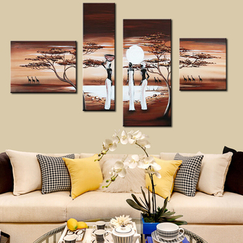 Modern 4 Panel Group Oil Painting African Tribal Life On Canvas Abstract Landscape Wall Art Picture for Living Room Home Decor