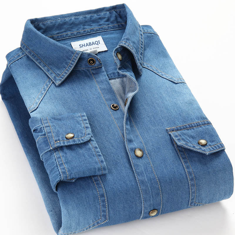 Spring Autumn Men Denim Thin Shirt Long Sleeve Soft 100% Cotton Two Pockets Slim Slight Elastic Jeans Cowboy 4XL