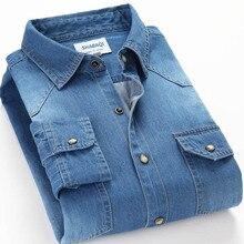 Spring Autumn Men Denim Thin Shirt Long Sleeve Soft 100% Cotton Two Pockets Slim Slight Elastic Jeans Cowboy 4XL
