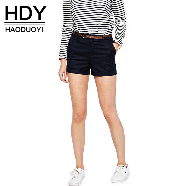 HDY Haoduoyi 2017 New Fashion Women Shorts Slim Side Pockets Casual Loose Short 2 Colors High Waist Rolled Solid Hot Shorts