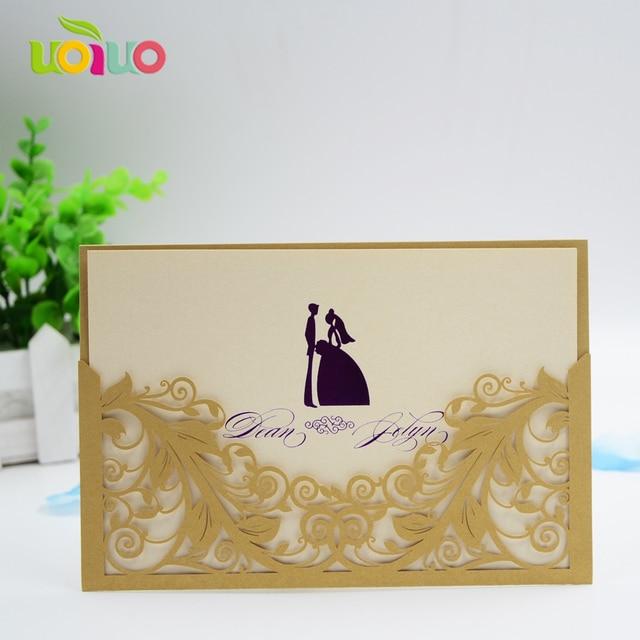 Wholesale 10pcs/Lot Laser Cut Pocket Wedding Invitations Elegant ...
