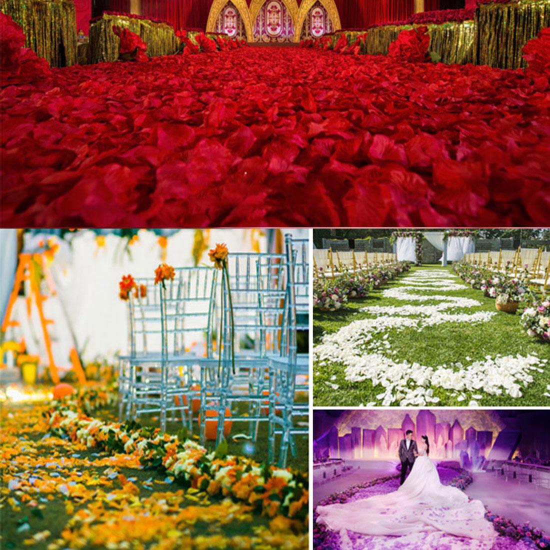 100pcs/lot Wedding Rose Petals Decorations silk Flowers polyester wedding Rose Decor