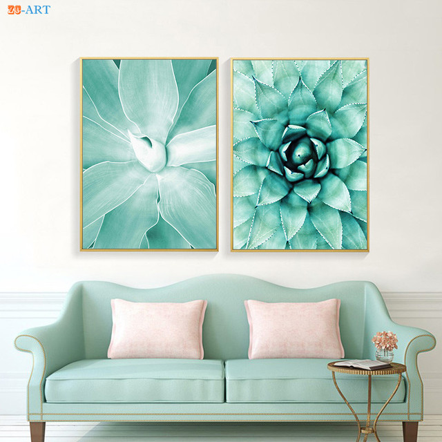 Us 4 56 24 Off Nordic Succulents Botanical Art Prints Poster Canvas Painting Large Wall Art Wall Pictures For Living Room Girls Room Teal Decor In