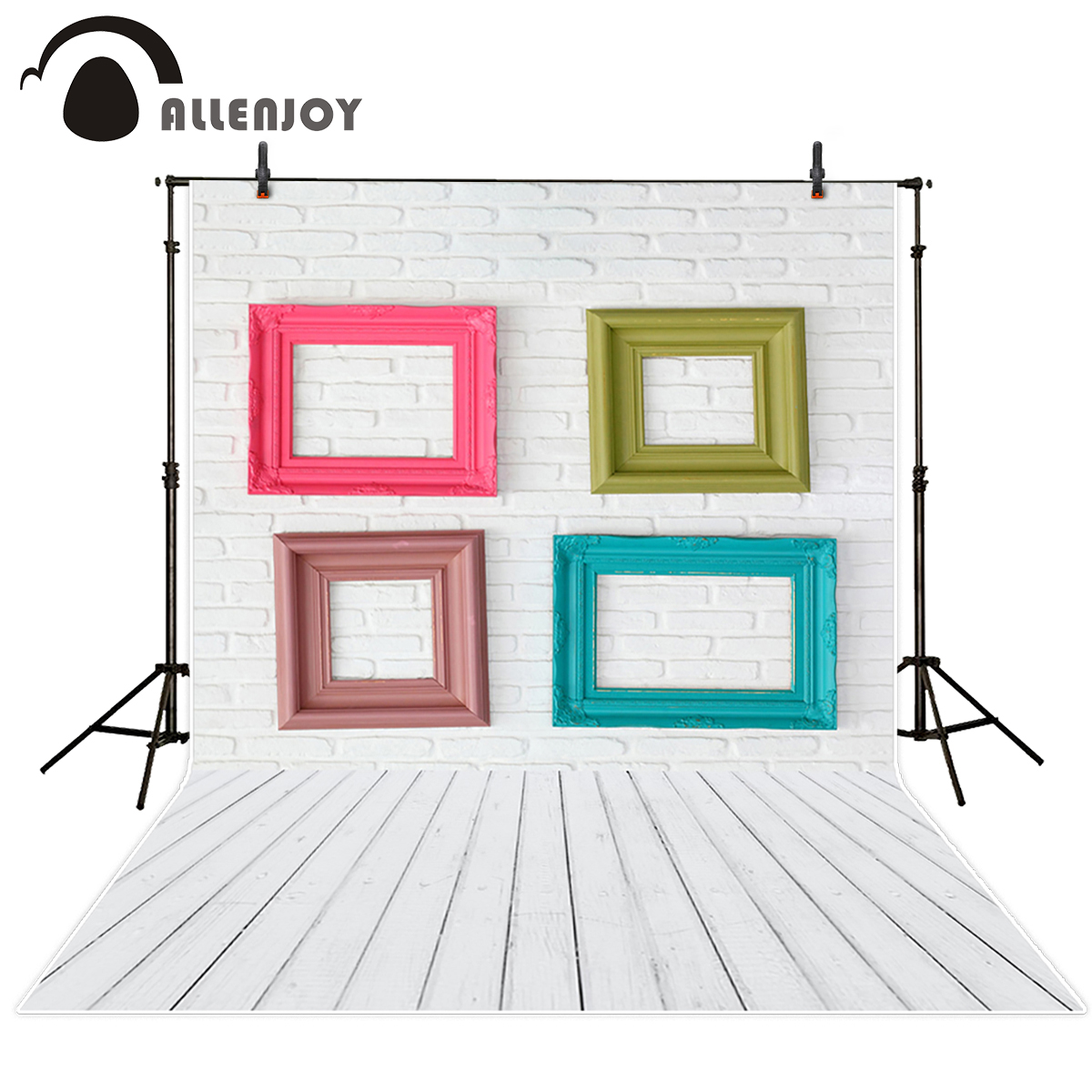 Allenjoy photo background White brick wall wooden floor background picture frame background for photographic studio vinyl cloth fixmee 50pcs white plastic invisible wall mount photo picture frame nail hook hanger
