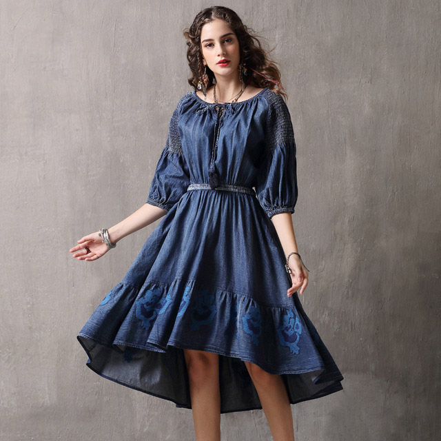 Famous brand women 39 s clothing 2019 spring and autumn straps big swing embroidery irregular denim women in Dresses from Women 39 s Clothing