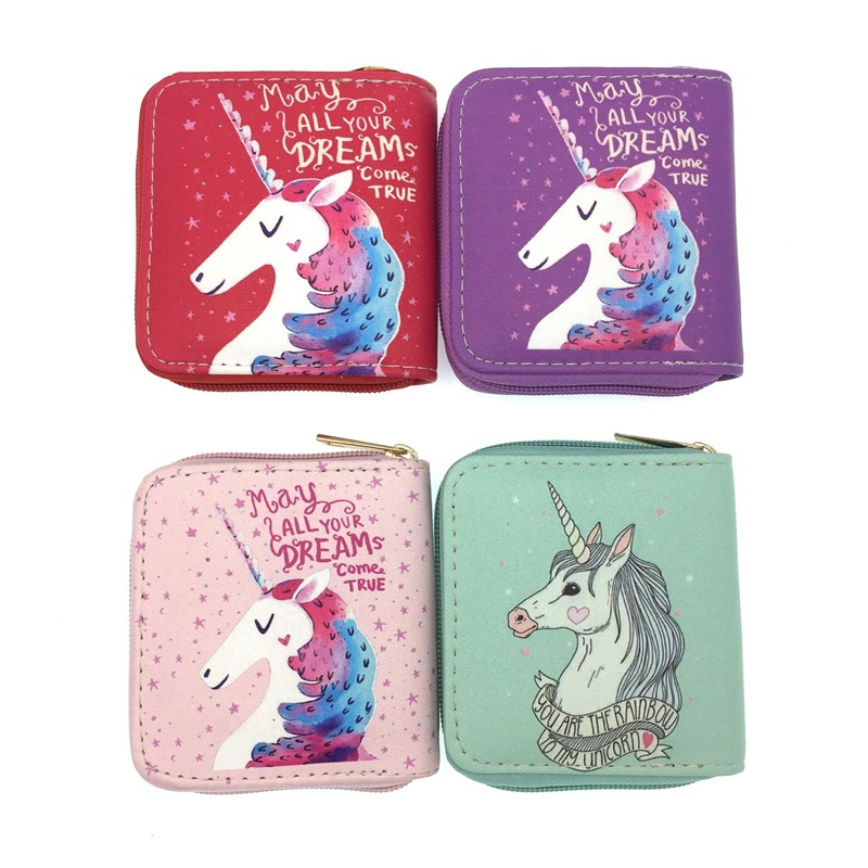 Fashion Unicorn Lady Mini Zipper Wallets Small Money Purses Bags Female Coin Purse Card Holder for Women Lady Short Wallet genuine leather coin purses women small change money bags pocket wallets female key chain holder case mini pouch card men wallet