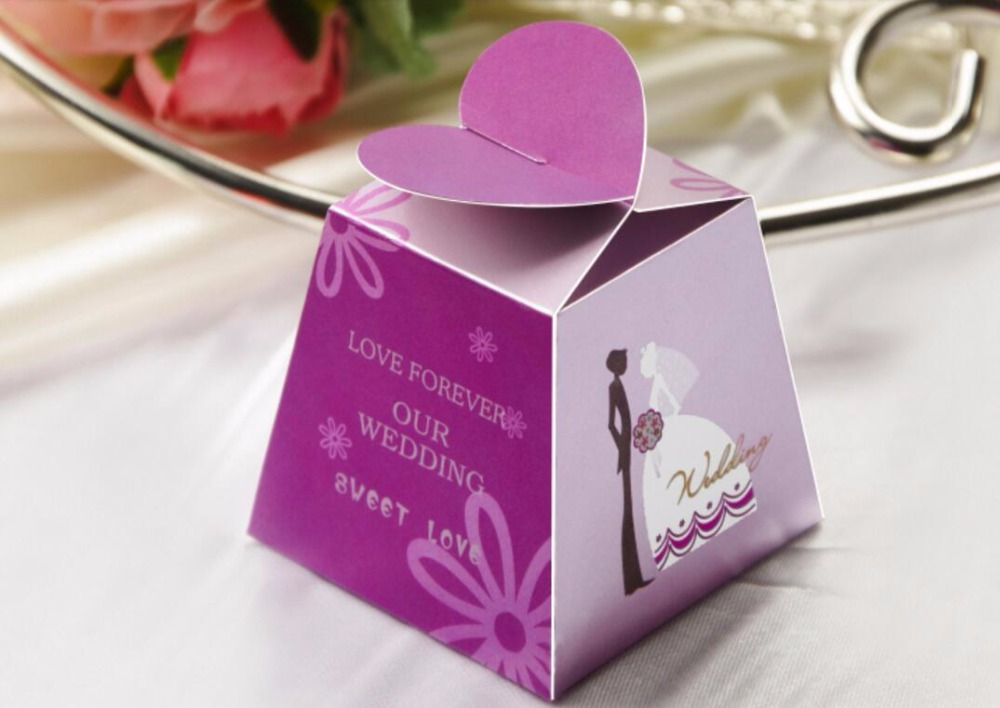Romantic bride&groom wedding party favor Candy Box, love heart ...