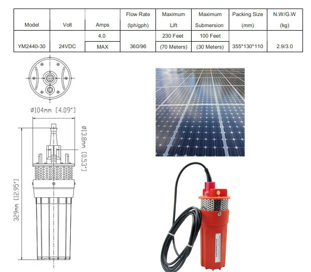 Solar submersible water pump