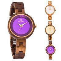 Wonderful Fashion Women Wooden Linked Thin Strap Round Dial Analog Quartz Wrist Watch