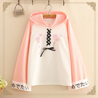 Cherry Blossoms Hoodie Casual Women Embroidery Clothes Long Sleeve Standard Hoodies Sweatshirt Harajuku Students Jumper
