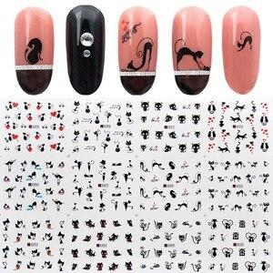Image 1 - 12 pçs/set água etiqueta do prego gato preto padrões arte do prego decalques de água dos desenhos animados adesivo envoltório do prego watermark manicure ferramentas zjt3024