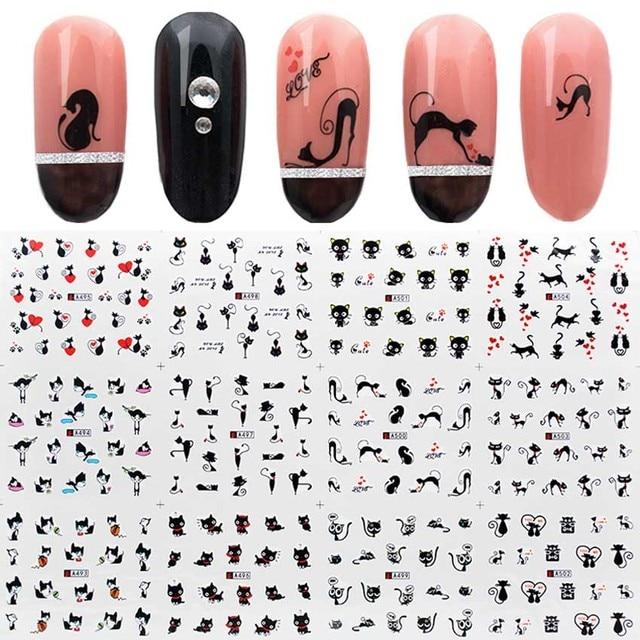 12 pçs/set água etiqueta do prego gato preto padrões arte do prego decalques de água dos desenhos animados adesivo envoltório do prego watermark manicure ferramentas zjt3024