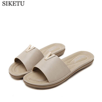 SIKETU Metal Decoration Women Summer Beach Shoes Woman Slippers Flat Heels Flip Flops Ladies Rihanna Bohemia