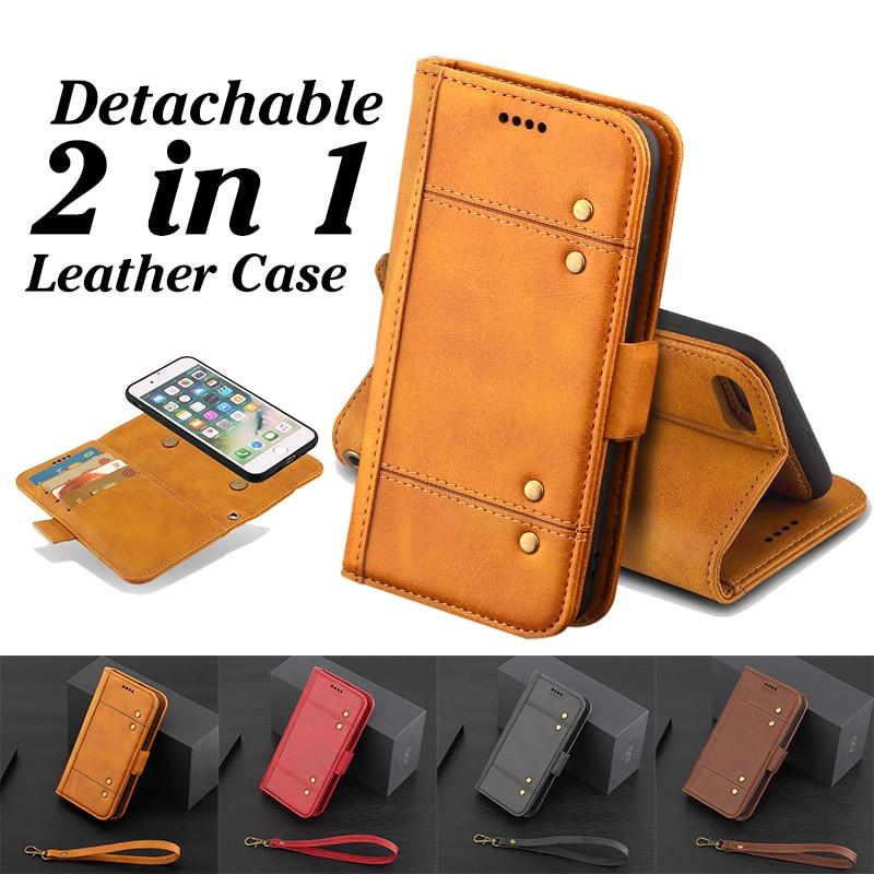 Роскошные Ретро 2 в 1 съемный кожаный чехол для iPhone 7 Plus кошелек визитница Стенд Крышка для Apple Iphone 7 Plus Телефонные чехлы